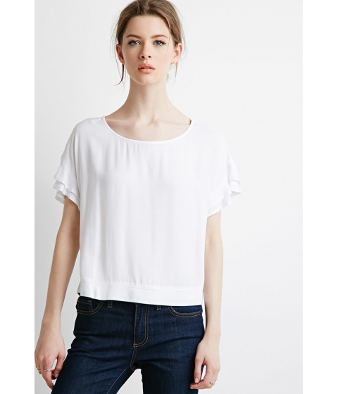 Imbracaminte Femei Forever21 Contemporary Ruffled Sleeve Boxy Top White