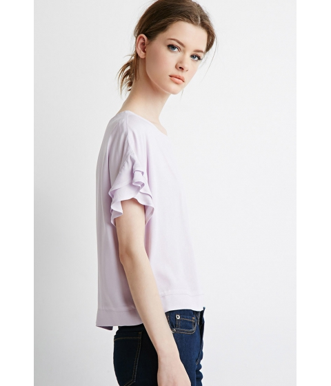 Imbracaminte Femei Forever21 Contemporary Ruffled Sleeve Boxy Top Lavender