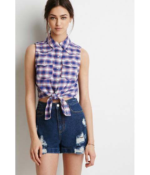 Imbracaminte Femei Forever21 Self-Tie Western Shirt Bluecream