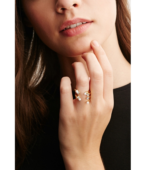 Imbracaminte Femei Forever21 CC Skye Stacked Faux Pearl and Rhinestone Ring Goldwhite