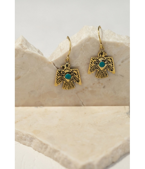 Bijuterii Femei Forever21 Emerald Duv Thunderbird Earrings Goldturquoise