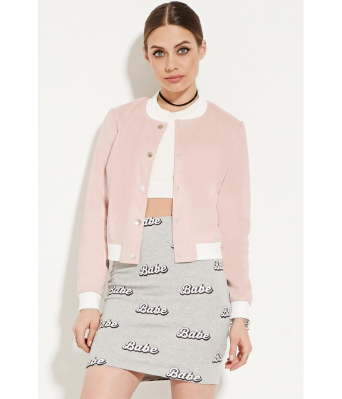 Imbracaminte Femei Forever21 Faux Suede Bomber Jacket Pinkcream