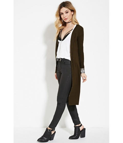 Imbracaminte Femei Forever21 Ribbed Longline Cardigan Olive