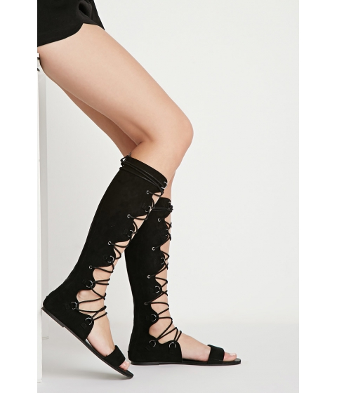 Incaltaminte Femei Forever21 Scalloped Lace-Up Sandals Black