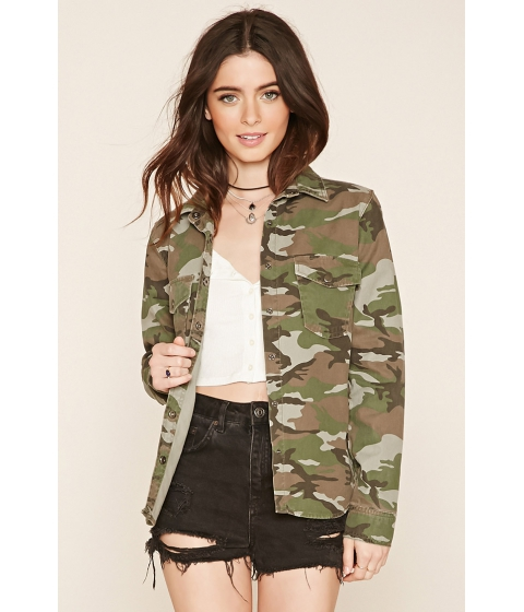 Imbracaminte Femei Forever21 Camouflage Print Shirt Jacket Olivebrown
