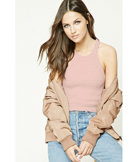 Imbracaminte Femei Forever21 Marled Knit Cropped Cami Dusty pink