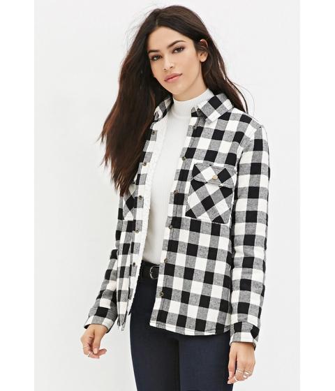Imbracaminte Femei Forever21 Faux Shearling Plaid Jacket Creamblack