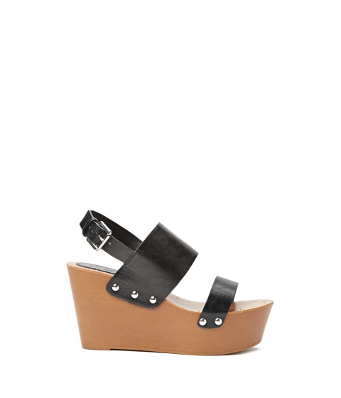 Incaltaminte Femei Forever21 Faux Leather Wedge Sandals Black