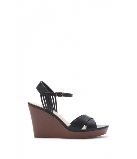 Incaltaminte Femei Forever21 Strappy Faux Leather Wedges Black