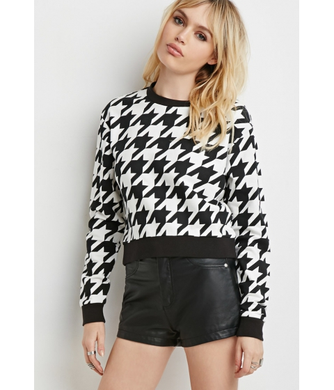 Imbracaminte Femei Forever21 Houndstooth Pullover Sweatshirt Whiteblack