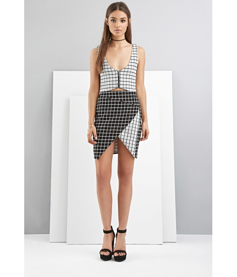 Imbracaminte Femei Forever21 FoxieDox Grid-Patterned Origami Skirt Blackwhite