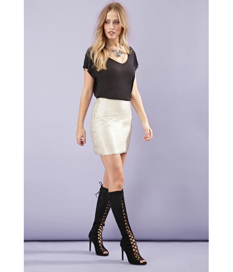Imbracaminte Femei Forever21 Matte Sequined Mini Skirt Taupe