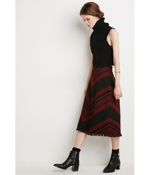 Imbracaminte Femei Forever21 Contemporary Frayed Chevron-Patterned Skirt Blackred