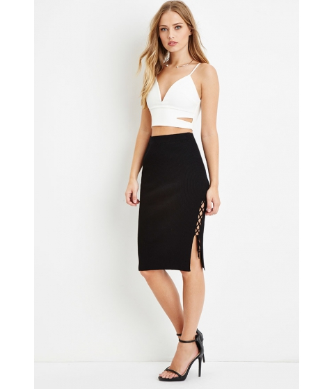Imbracaminte Femei Forever21 Lace-Up Side Bodycon Skirt Black