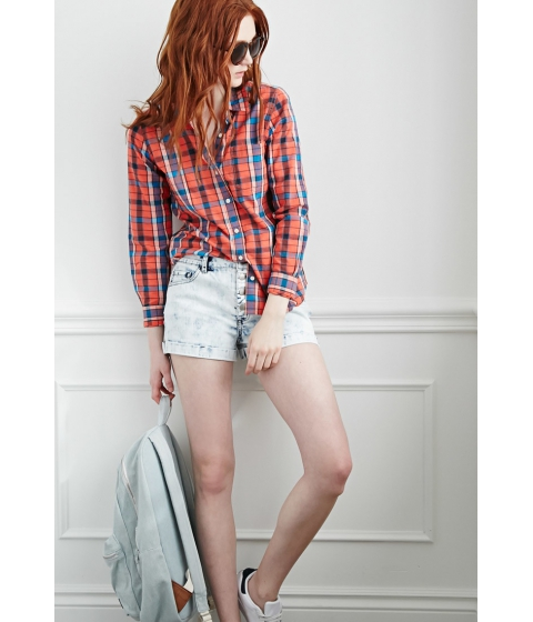 Imbracaminte Femei Forever21 Buttoned-Front Denim Shorts Light denim