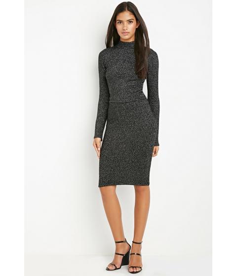 Imbracaminte Femei Forever21 Contemporary Metallic Knit Sweater Skirt Blacksilver