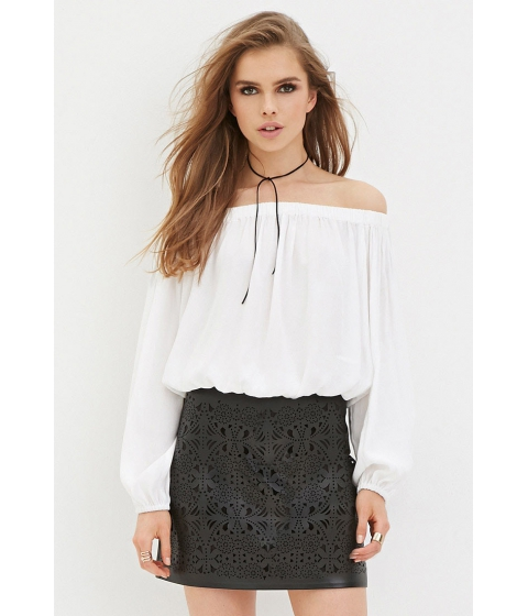 Imbracaminte Femei Forever21 Perforated Faux Leather Skirt Black