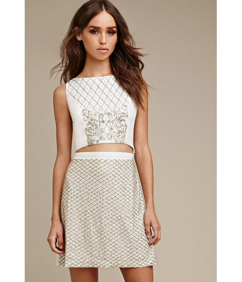 Imbracaminte Femei Forever21 Raga Beaded Sequins Skirt Creamgold