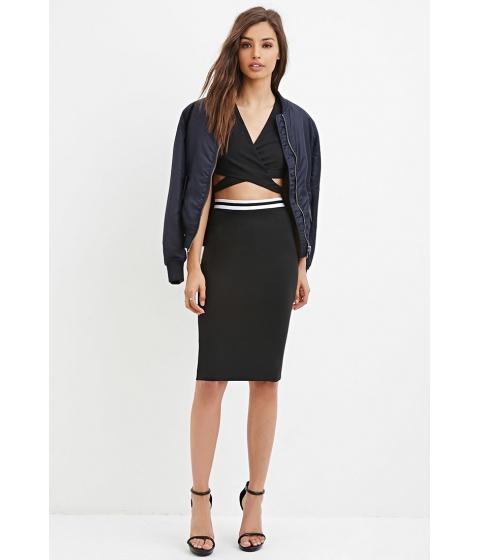 Imbracaminte Femei Forever21 Varsity-Striped Pencil Skirt Blackwhite