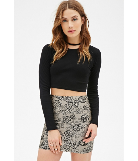 Imbracaminte Femei Forever21 Lace Print Skirt Taupeblack