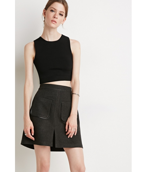 Imbracaminte Femei Forever21 Contemporary Faux Leather-Trimmed Mini Skirt Charcoal heather