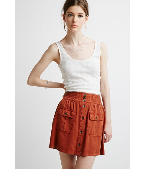Imbracaminte Femei Forever21 Contemporary Button-Front Pocket Skirt Rust