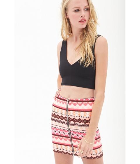 Imbracaminte Femei Forever21 Zippered Tribal Print Skirt Coralburgundy