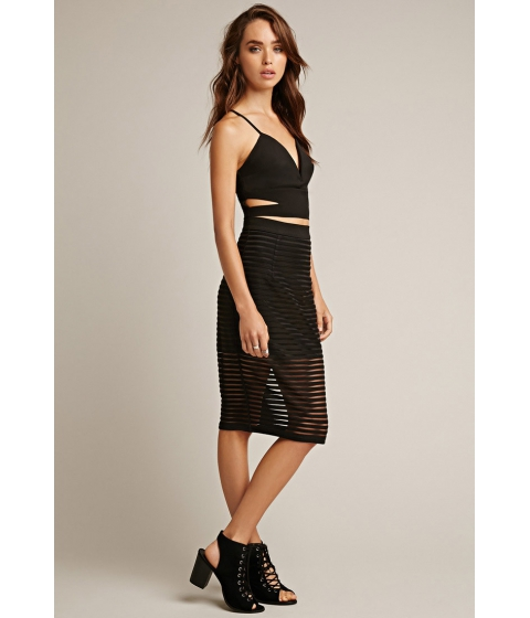 Imbracaminte Femei Forever21 Rise of Dawn Parallel Lines Skirt Black