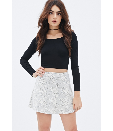 Imbracaminte Femei Forever21 Textured Floral Pattern Skirt Creamblack