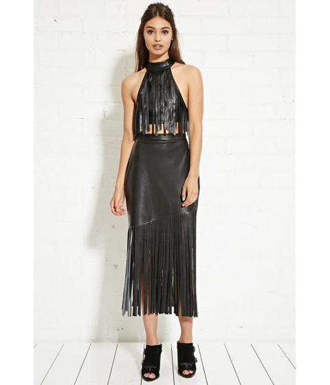 Imbracaminte Femei Forever21 Nightwalker Faux Leather Fringe Skirt Black