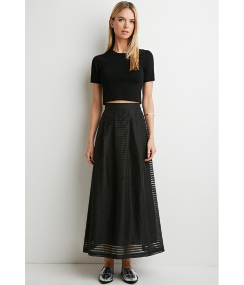 Imbracaminte Femei Forever21 Contemporary Pleated Shadow Stripe Maxi Skirt Blackblack