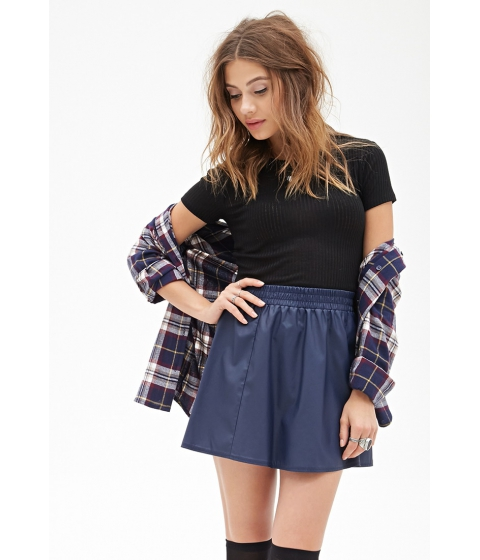 Imbracaminte Femei Forever21 Faux Leather Flared Skirt Navy