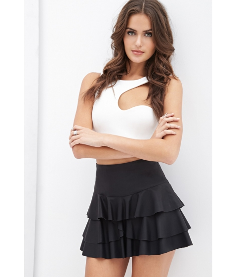 Imbracaminte Femei Forever21 Ruffled Faux Leather Skirt Black
