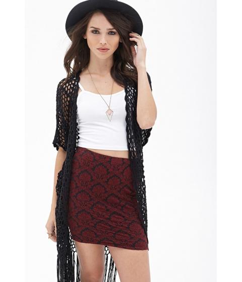 Imbracaminte Femei Forever21 Textured Damask Mini Skirt Blackburgundy