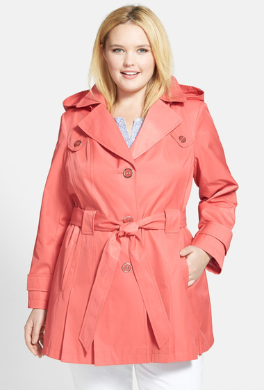 Imbracaminte Femei Via Spiga Scarpa Single Breasted Trench Coat Plus Size CORAL