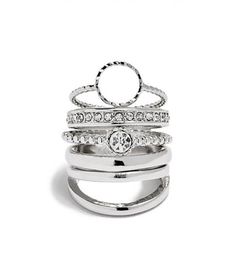 Bijuterii Femei GUESS Silver-Tone Dainty Ring Set silver