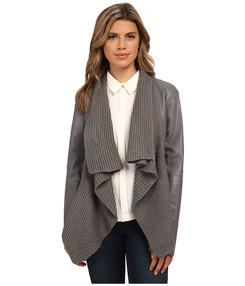 Imbracaminte Femei BB Dakota Sarafina PU Jacket with Sweater Knit Drape Front Charcoal