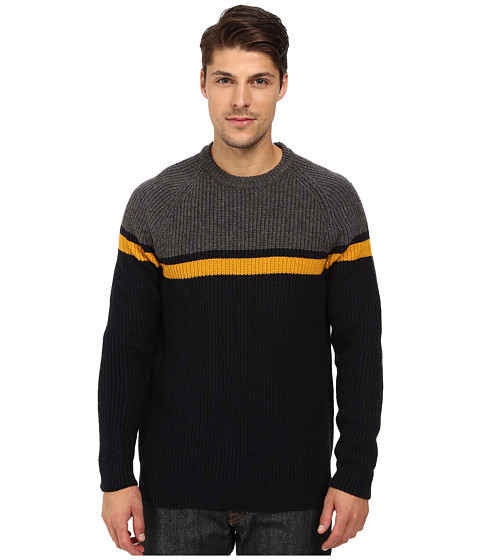 Imbracaminte Barbati French Connection Rod Stripe Knits Sweater Charcoal MelangeGolden Yellow