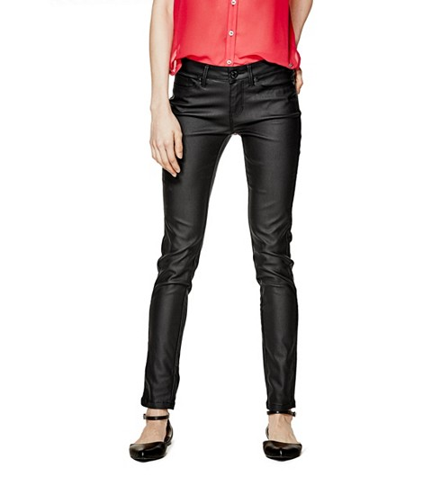Imbracaminte Femei GUESS Amadeo Coated Skinny Jeans jet black
