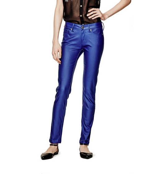 Imbracaminte Femei GUESS Amadeo Coated Skinny Jeans surf the web blue