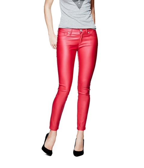 Imbracaminte Femei GUESS Amadeo Coated Skinny Jeans electric red