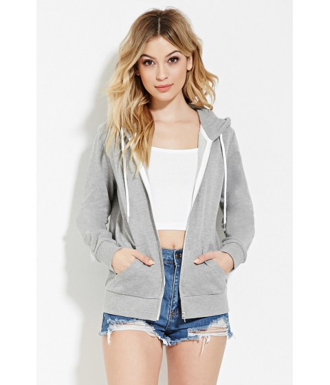 Imbracaminte Femei Forever21 Classic Zip-Up Hoodie Heather grey