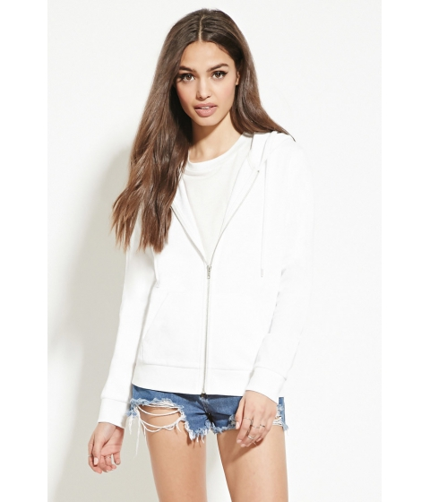Imbracaminte Femei Forever21 Classic Zip-Up Hoodie White