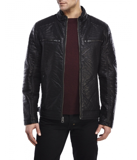Imbracaminte Barbati Buffalo David Bitton Textured Faux Leather Jacket Black