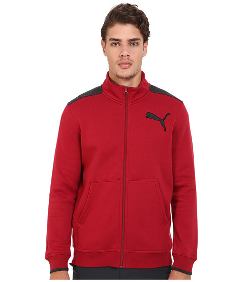 Imbracaminte Barbati PUMA Fleece Track Jacket Rio RedDark Gray Heather