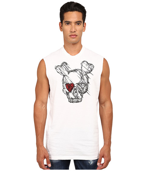 Imbracaminte Barbati DSQUARED2 Puff and Soft Print Skull T-Shirt White
