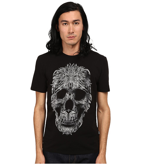 Imbracaminte Barbati Just Cavalli Short Sleeve Feather Skull Graphic Super Slim Tee Black