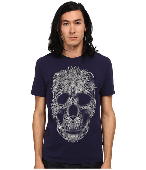 Imbracaminte Barbati Just Cavalli Short Sleeve Feather Skull Graphic Super Slim Tee Blue Ink