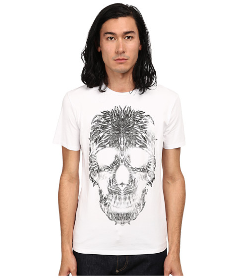 Imbracaminte Barbati Just Cavalli Short Sleeve Feather Skull Graphic Super Slim Tee White