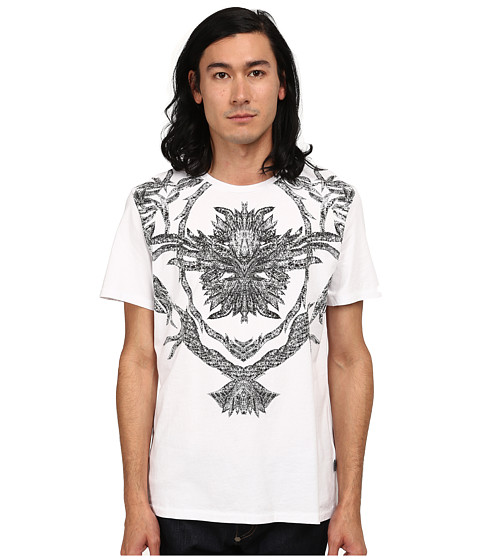 Imbracaminte Barbati Just Cavalli Short Sleeve FeatherFlame Graphic Slim Fit Tee White